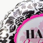 Vorschaubild Ballon Happy Birthday Black and White und haltbare Rose